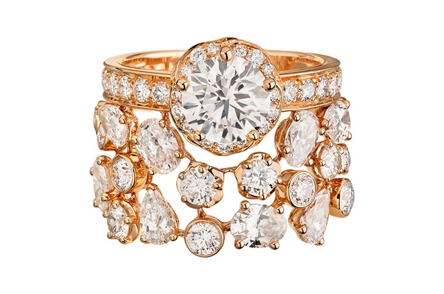 bdb116351 Chanel Camélia high jewellery Rose Poudré ring in pink gold and diamonds.